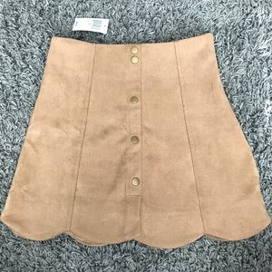 Scalloped Suede Camel Skirt -Dry Goods